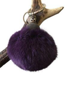 Fell-Shop_Schlüsselanhänger Kaninpompom-violett